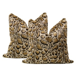 "22"" Bengal Faux Fur Pillows - A Pair"