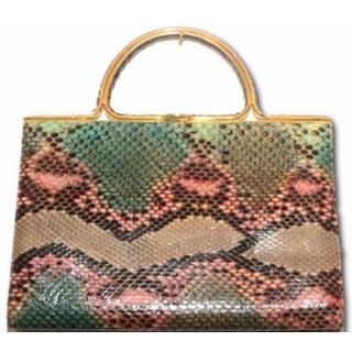 Judith Leiber Multi- Color Snake Skin Handbag