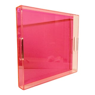 21st Century Hot Pink Lucite Cut-Out Handle Tray