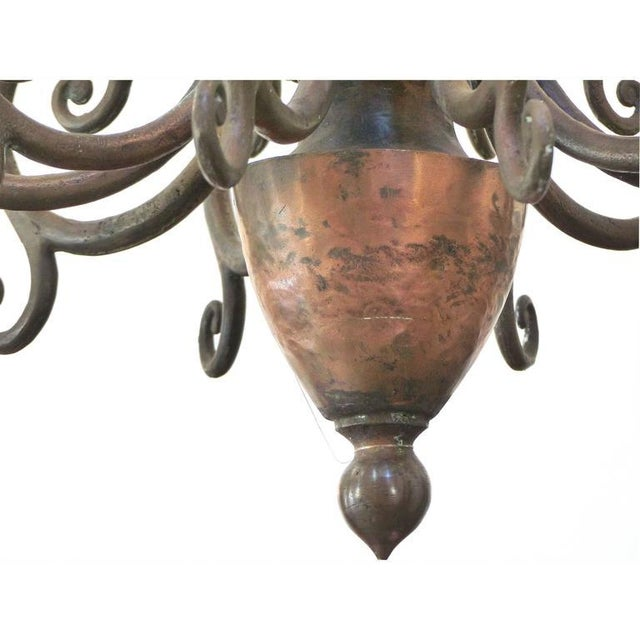 Large Early 1900s Handmade Copper and Brass Chandelier - Image 3 of 9