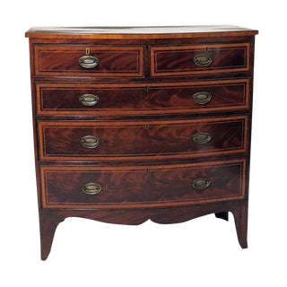 Inlaid English Bow Front Chest of Drawers
