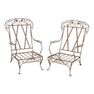 Salterini Large Wrought Iron Garden Patio Lounge Chairs - a Pair