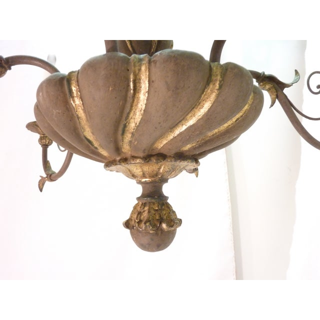 Italian Painted Iron & Wood Chandelier - Image 4 of 8