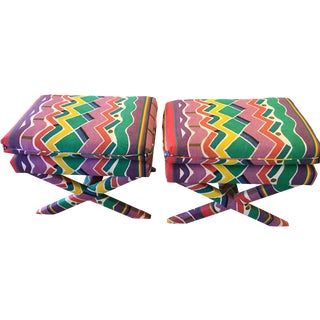 Vintage Billy Baldwin Style X Ottomans - a Pair