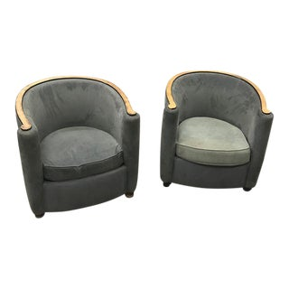 French Art Deco Burl Wood Club Chairs - A Pair