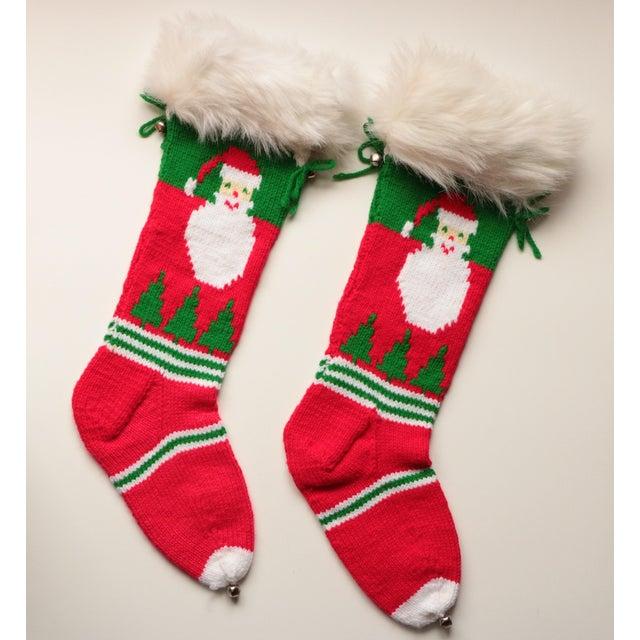 Vintage Hand-Knit Santa & Reindeer Stockings - A Pair - Image 2 of 8