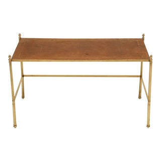 Vintage French Leather and Brass Coffee Table