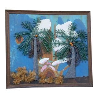 Maurice Woodlock Palm Tree Mixed Media Painting