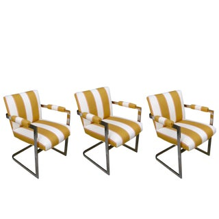 Milo Baughman Brass Chairs, Newly Upholstered, Circa 1960