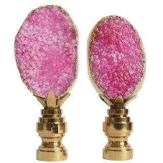 Hot Pink Geode Lamp Finials - A Pair