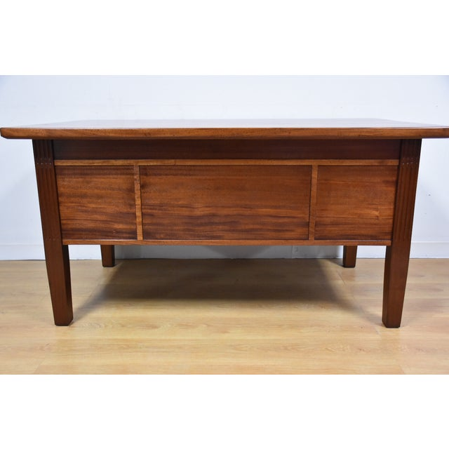 Antique Solid Mahogany Executive Desk - Image 11 of 11