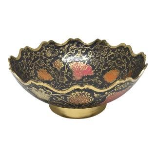 Vintage Boho-Chic Brass Enamel Bowl