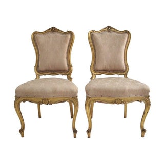 Louis XV Blush Parlor Chairs - Pair