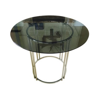 Vintage Chrome & Smoked Glass Dining Table