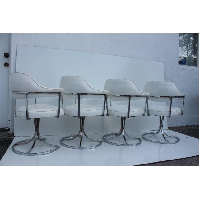 Vintage Retro Chrome Swivel Dining Chairs 4 Chairish