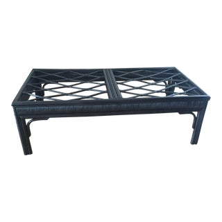 Hollywood Regency Style Black Rattan Coffee Table