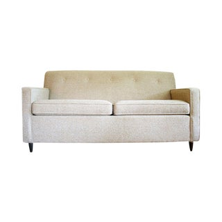 Mid Century Modern Ivory Tweed Sleeper Sofa