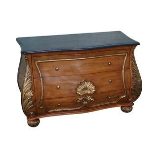 French Louis XV Style Bombe Marble Top Commode Chest