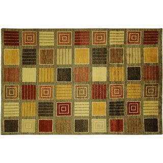 Multicolor Square Design Gabbeh Rug - 6' x 9'