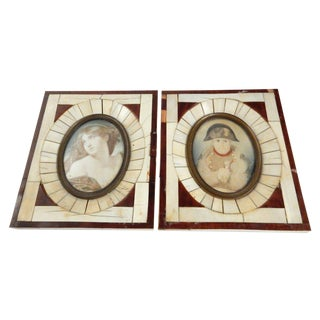 Miniature Framed Paintings of Napoleon & Woman - A Pair