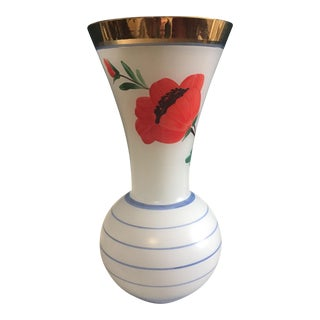 Vintage Mid-Century Blown & Painted Glass Vase