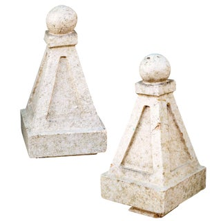 Pair of Late 19th-Early 20th Century Glazed Terracotta Obelisks