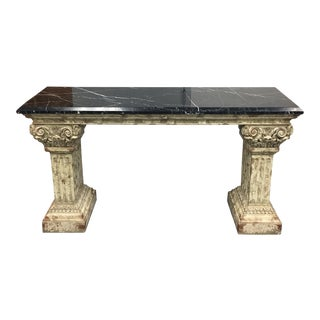 Console Table with Black Marble Top & Column Base