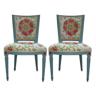 Floral Country French Chairs - a Pair