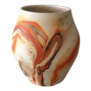 Nemadji Orange Swirl Pottery Vase