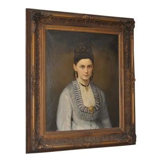 19th C. Portrait of an Elegant Woman w/ Fine Jewelry