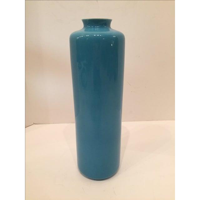 Middle Kingdom Teal Lotus Vase - Image 2 of 5