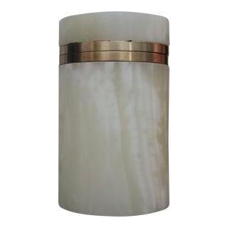 Carved Onyx Minimalist Trinket Box with Brass Collar