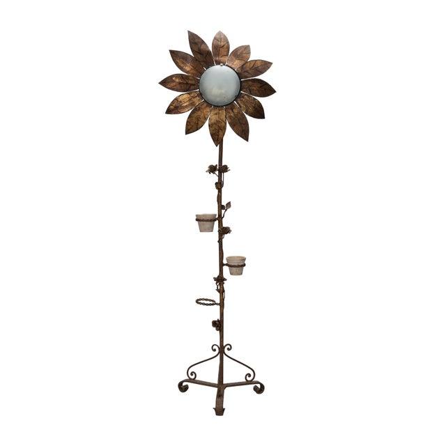 Image of 1930's Spanish Gilt Metal Sunflower Floor Lamp