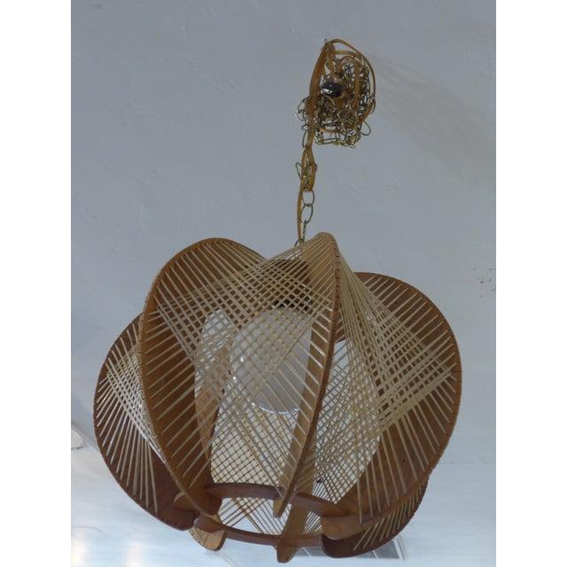Image of Danish Modern Wood Woven Geometric Swag Lamp