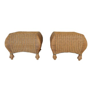Henry Link Wicker Bombe Style Ottomans - A Pair