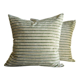 Olive & Mustard Stripes Velvet Square Pillows - A Pair
