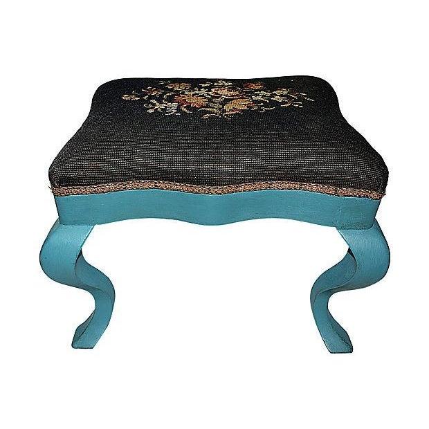Antique Needlepoint Footstool - Image 3 of 5