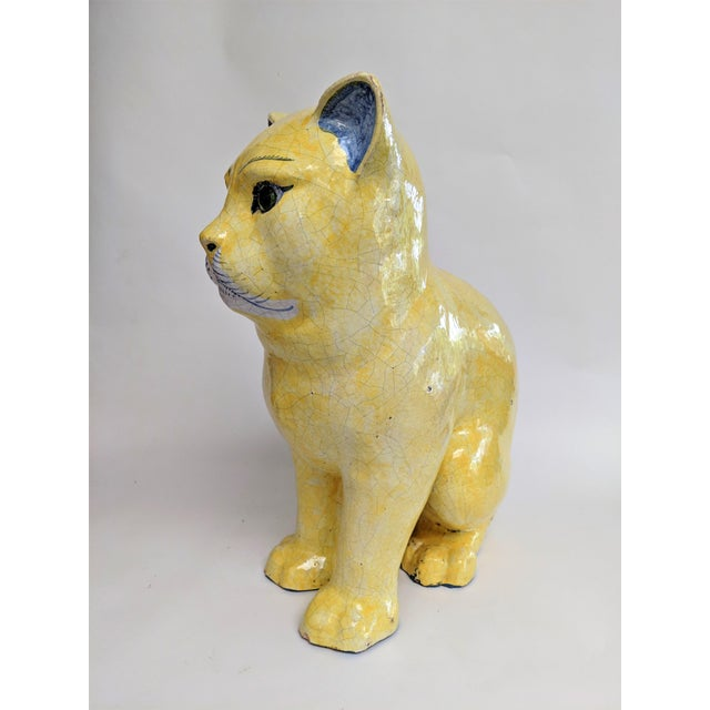 Emil Galle Style Terra Cotta Cat With Glass Eyes - Image 5 of 11