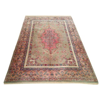 5′10″ × 9′3″ Vintage Persian Kerman Handmade Knotted Rug - Size Cat. 6x9 5x8