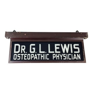 Antique Osteopathic Physician Doctor Glass Sign