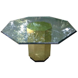 Mastercraft Octagonal Faux Brass Glass Top Table