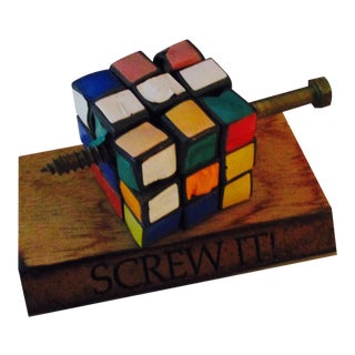"Artisan ""Screw It"" Rubiks Cube Desk Sculpture Desk"