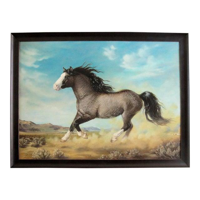 "Ute Simon ""Surprise"" American Bashkir Curly Horse Painting - Image 1 of 9"