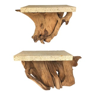 Pair of Iconic Fossil Stone Side Tables by Michael Taylor