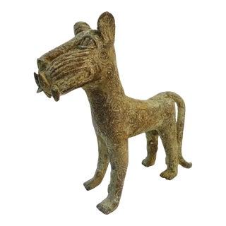 Nigeria African Benin Standing Leopard Bronze Sculpture
