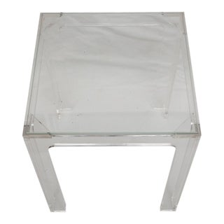 Small Lucite and Glass End Table