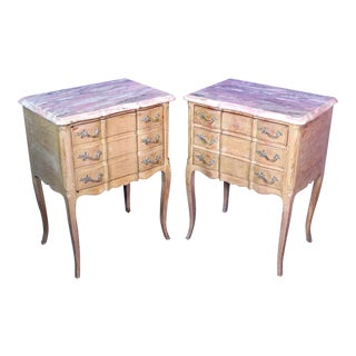 F. Zambrano Louis XV Style Marble Top Commode Nightstands- A Pair