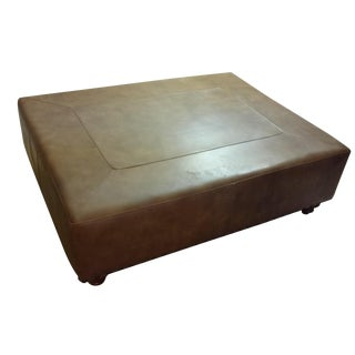 Large Leather Ottoman with Nailhead Trim