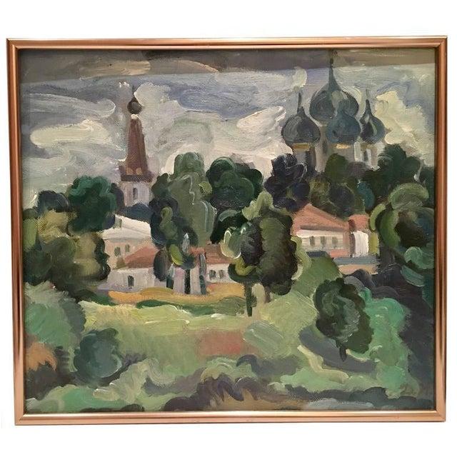 Original Oil on Burlap Landscape Painting - Image 10 of 10