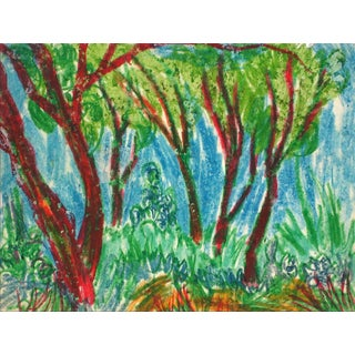 Trees in a Forest Grove, Oil Pastel Drawing, Circa 1960
